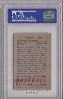 1951 Bowman WHITEY FORD #1 PSA 6 EX-MINT Rookie RC New York Yankees