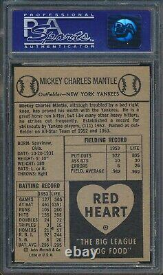 1954 Red Heart Mickey Mantle HOF New York Yankees PSA 9 MINT Museum Quality