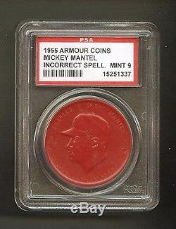 1955 Armour Coins Incorrect Spelling Mickey Mantle New York Yankees PSA 9 MINT
