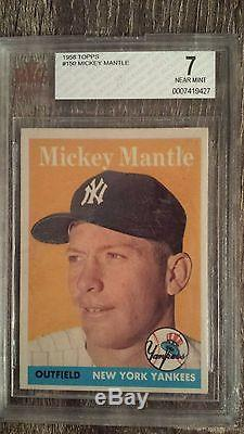 1958 TOPPS MICKEY MANTLE CARD #150 BVG 7 NEAR MINT NEW YORK YANKEES GREAT