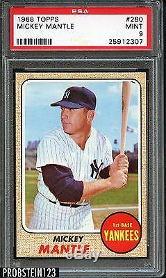 1968 Topps #280 Mickey Mantle NY Yankees HOF PSA 9 MINT SOLID INVESTMENT
