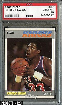 1987 Fleer BASKETBALL #37 Patrick Ewing HOF New York Knicks PSA 10 GEM MINT