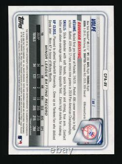 Anthony Volpe 2020 Bowman Chrome Auto Blue Refractor #096/150 NY Yankees