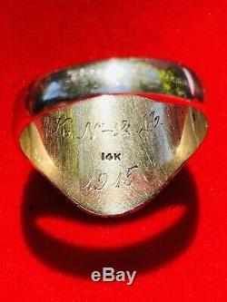 Antique NEW YORK 1915 Mens Signet Ring 14k Gold Size 11 Heavy 9g HAND MADE MINT