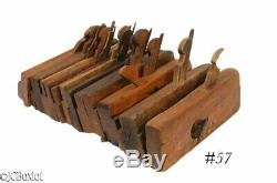 Antique wood wooden MOLDING PLANE TOOL LOT OH NY others hollow round side beads