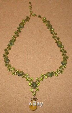 EXTREMELY RARE MINT Schreiner NY Emerald Art Glass Inverted Rhinestone Necklace