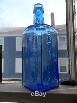 Great electric blue TILDEN & CO NEW LEBANON NY bottle, mint condition, ca. 1870