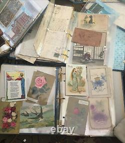 HUGE VINTAGE Lot Of 7 Albums POSTCARDS From 1900's-70's Leather, Patriotic, more