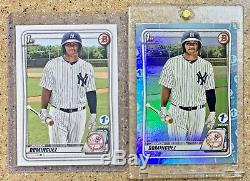 Jasson Dominguez 2020 1st Edition Bowman RC Lot Blue Foil and Base NY Yankees