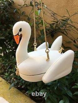 Kate Spade New York Checking In 3-d Swan Pool Float Leather Clutch Bag, Mint