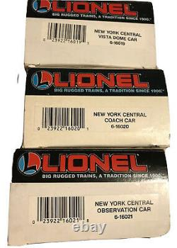 Lionel O Scale New York Central Lighted Baggage Car Lot 6-16019 To 6-16021 Train