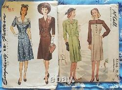 Lot of 12 Vtg 1930s 1940s Sewing Dress Patterns Hollywood Vogue New York McCall