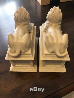 New York Public Library Lions Bookends By Edward Clark Potter USA Marble MINT