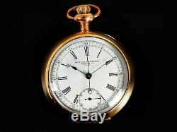 Rare Antique 18s NY Standard Watch Co Pocket Watch Chronograph Mint Serviced