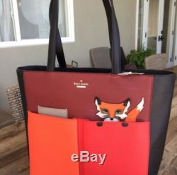 Rare! Kate Spade Ny Blaze A Trail Pocket Fox Shoulder Tote Leather Bag, Mint