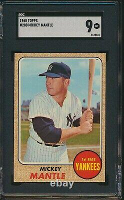 STUNNING & WELL CENTERED Mickey Mantle 1968 Topps #280 NY Yankees SGC 9 Mint HOF