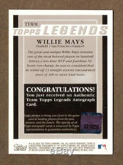 WILLIE MAYS-2003 Topps Legends AUTO/AUTOGRAPH-MINT SAN FRANCISCO GIANTS NY METS